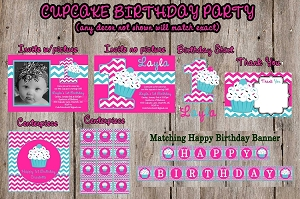 Chevron Cupcake Birthday Invitations and Party Decorations - Party Package