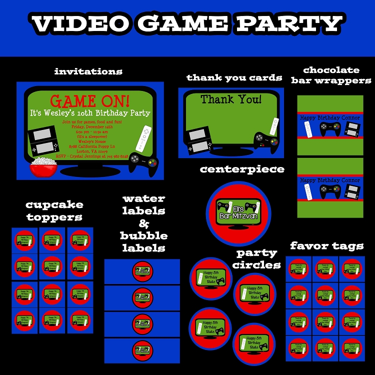 video game invitations  video game party decorations  party pack, party invitations