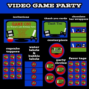 Video Game Invitations - Video Game Party Decorations - Party Pack