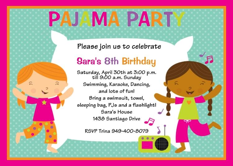 Pajama Party Birthday Invitations Sleepover Invitations