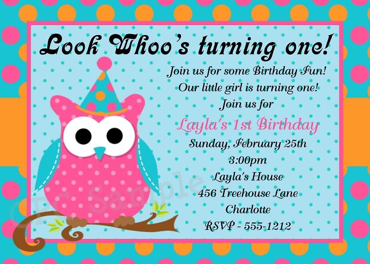 Owl 1st Birthday Party Invitations