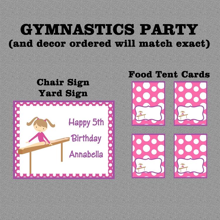 Girls Gymnastics Birthday Party Invitations - Printable or Printed