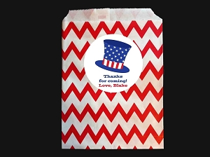 4th of July Party Favor Bags and Personalized Stickers