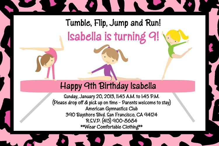 Gymnastics Birthday Party Invitations Printable as best invitation sample
