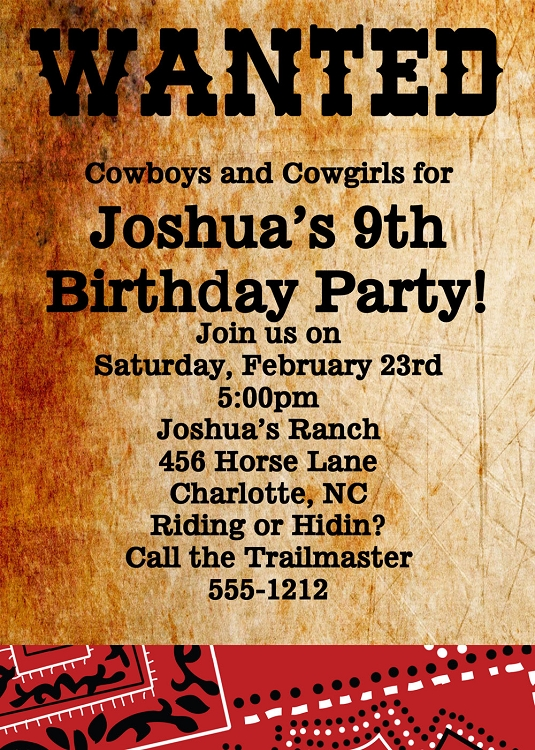 wanted poster invitations western birthday party invitations printable or printed - Cowboy Party Invitations