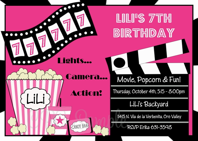 Movie Birthday Invitations Printable or Printed – Printed Birthday Invitations