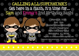 Batman and Batgirl Birthday Invitations - Twins - Siblings Printable or Printed Party Invitations