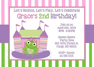 Party invitations featuring Bounce House and Circus Themes