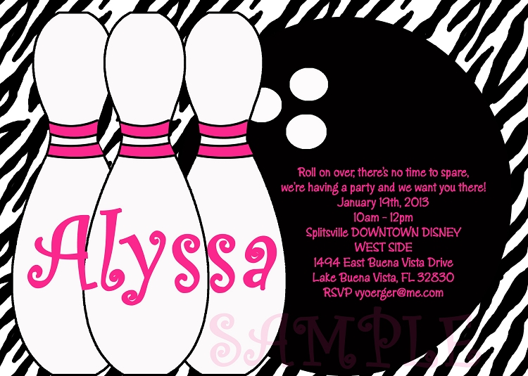 Zebra Print Bowling Birthday Party Invitations – Zebra Party Invitations