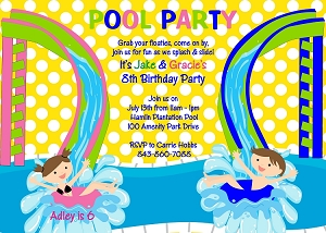 Water Slide Birthday Invitation for Twins or Siblings