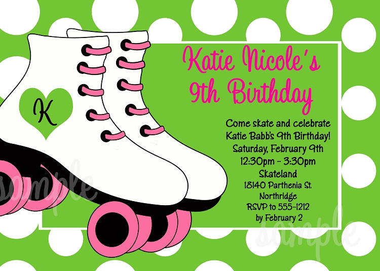 Green and White Background – Roller Skating Birthday Party Invitations