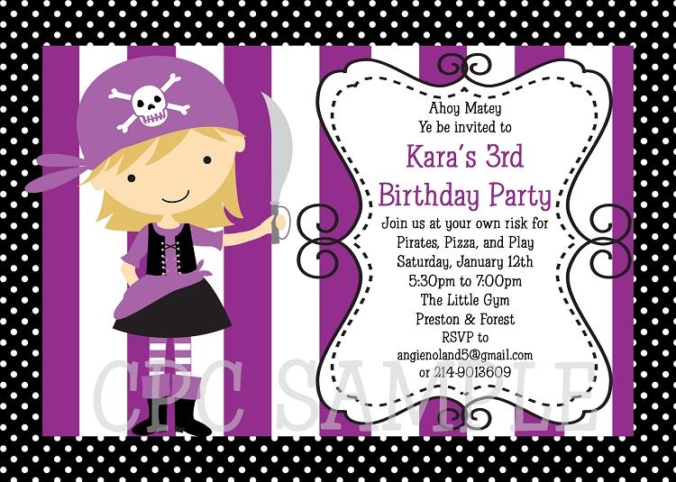 Girl Pirate Birthday Invitation Printable or Printed Party Invite – Pirate Birthday Invite