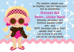 Girl Winter Pool Party Invitations - Printable or Printed