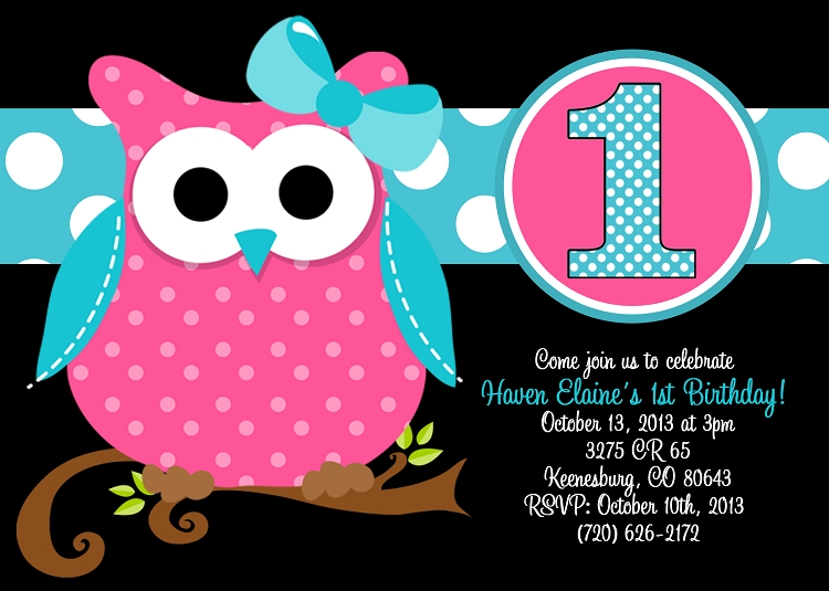 Owl 1st birthday invitation with photo printable or printed close filmwisefo