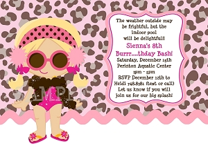 Girl with Leopard Print Background | Pool Party Invitations - Printable or Printed