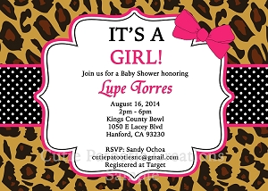 It's a Girl Leopard Print Baby Shower Invitations