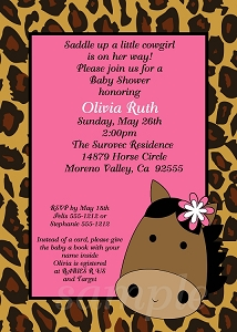 Leopard Print Cowgirl Baby Shower Invitations