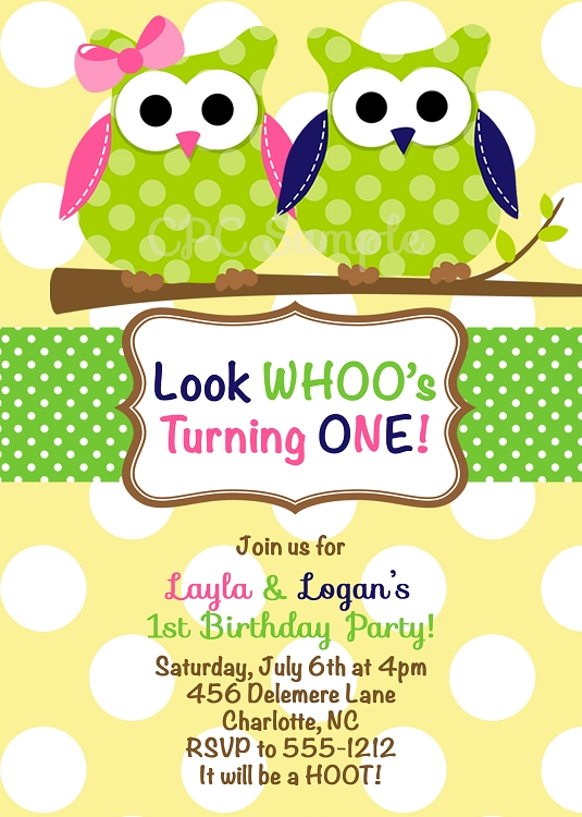 1st Birthday Invitations for Boy Girl Twins Printable or Printed