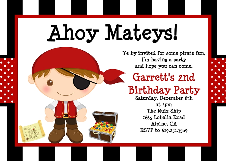 Pirate birthday invitations for boys printable or printed filmwisefo