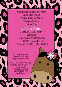 Pink Leopard Cowgirl Baby Shower Invitations