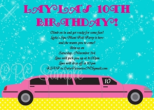 Pink Limousine Bachelorette Party Invitations - Wedding Shower Invitation