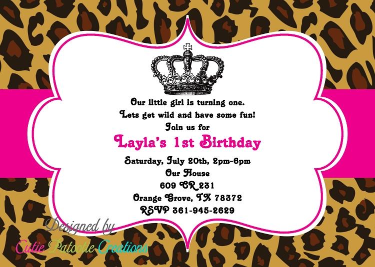 Leopard princess birthday invitations for Leopard print invitations templates