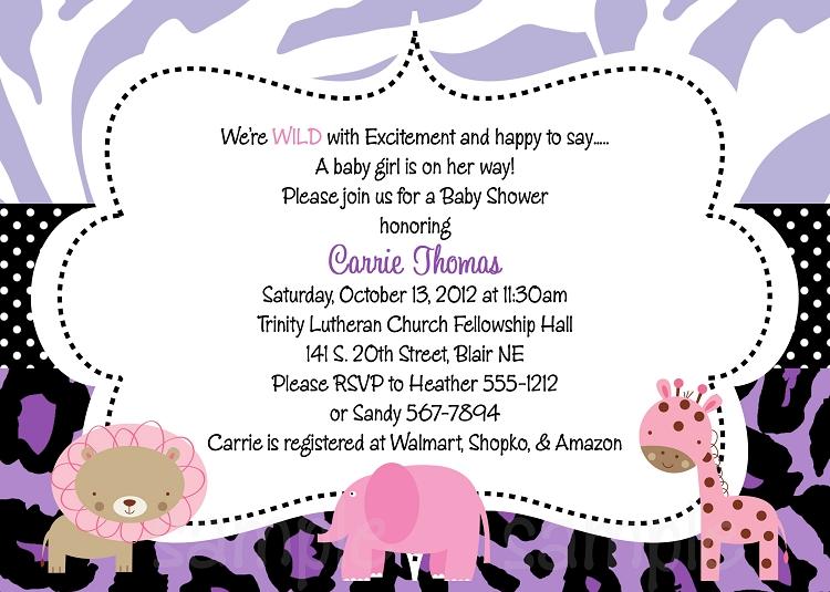 Purple Safari Baby Shower Invitations