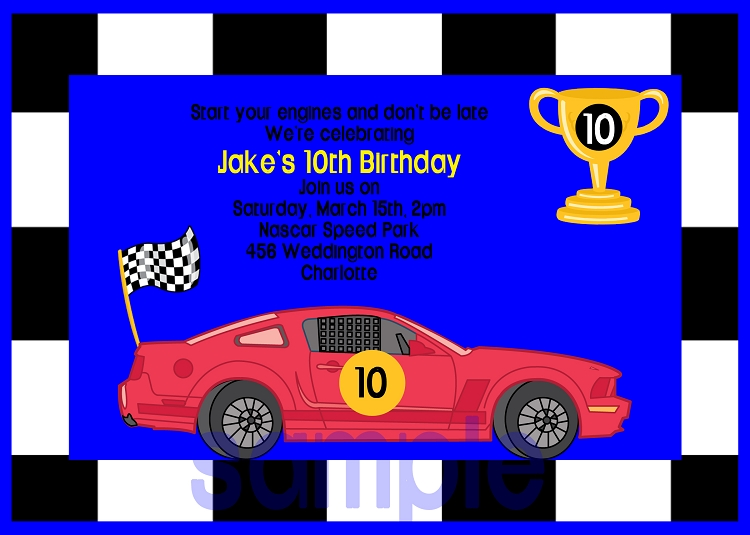 race cars birthday invitations  printable or printed, Birthday invitations