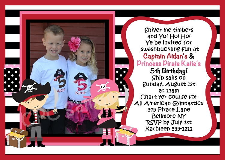Twins Pirate Birthday Invitation Printable Or Printed Party Invite - Birthday invitation cards twins