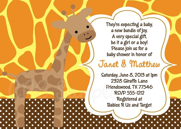 Gender Neutral Giraffe Baby Shower Invitation – Baby Gender Announcement Wording