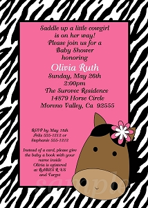 Zebra Cowgirl Horse Baby Shower Invitations