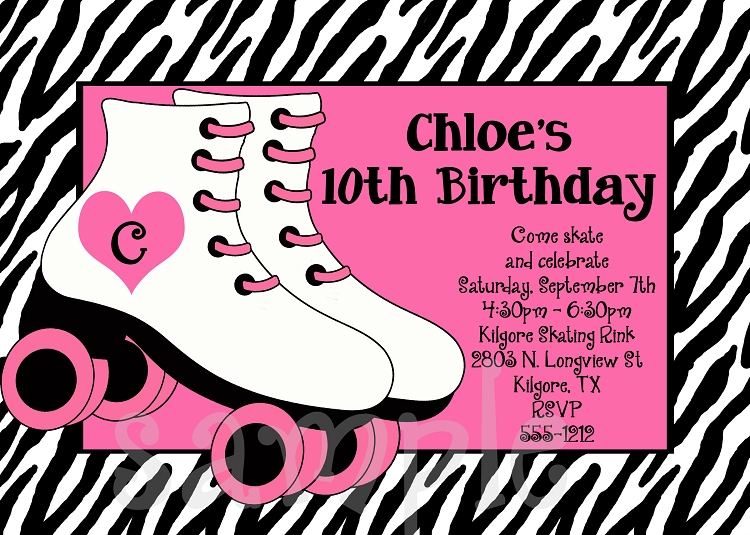 rollerskating themed party invitations., Birthday invitations