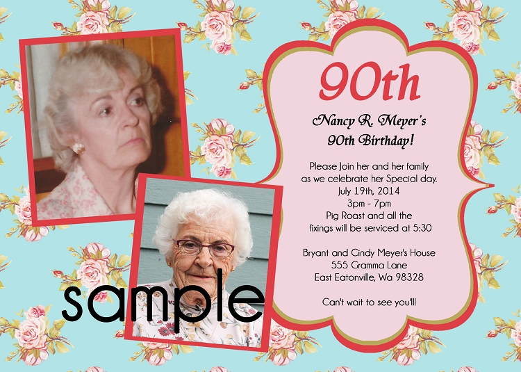 90TH BIRTHDAY INVITATIONS Use for ANY Age Printable or Printed