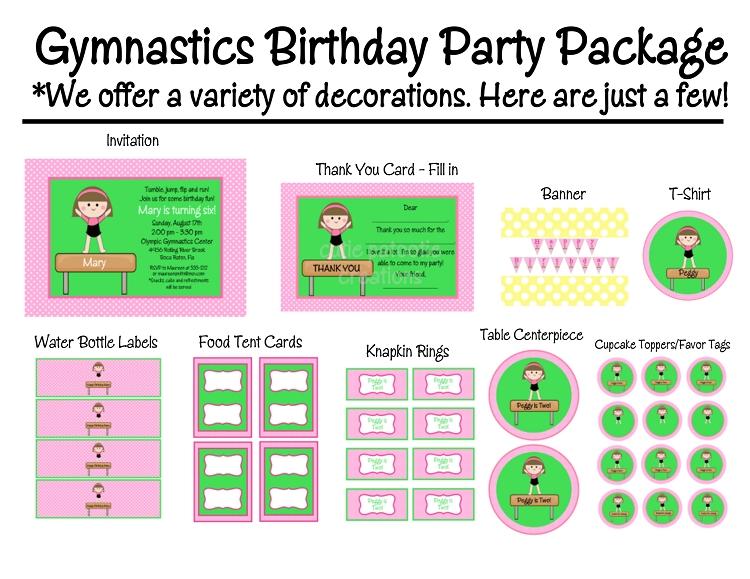 Girls Gymnastics Birthday Party Invitations Printable or Printed – Gymnastic Birthday Invitations