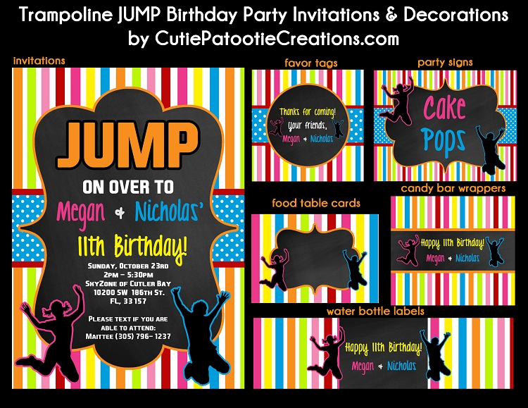 trampoline jump birthday party invitations for twins or