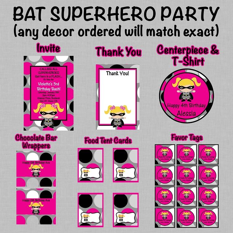 Batgirl Superhero Birthday Invitations