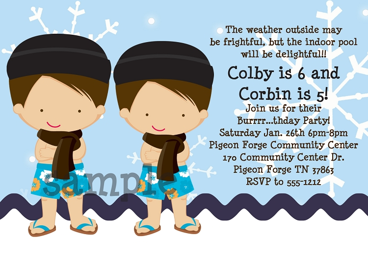 Winter Pool Party Invitations for Boys Printable or Printed – Winter Pool Party Invitations