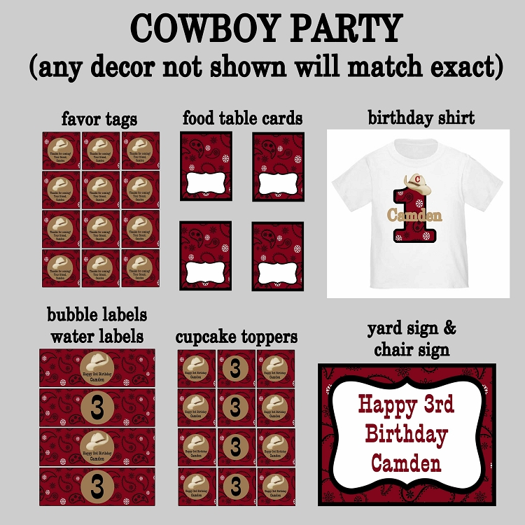 Red Bandana Country Western Cowboy Birthday Invitations