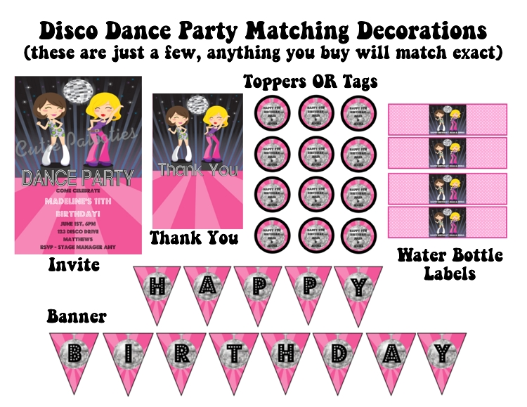 disco diva dancers glamour girls birthday party invitations, Birthday invitations