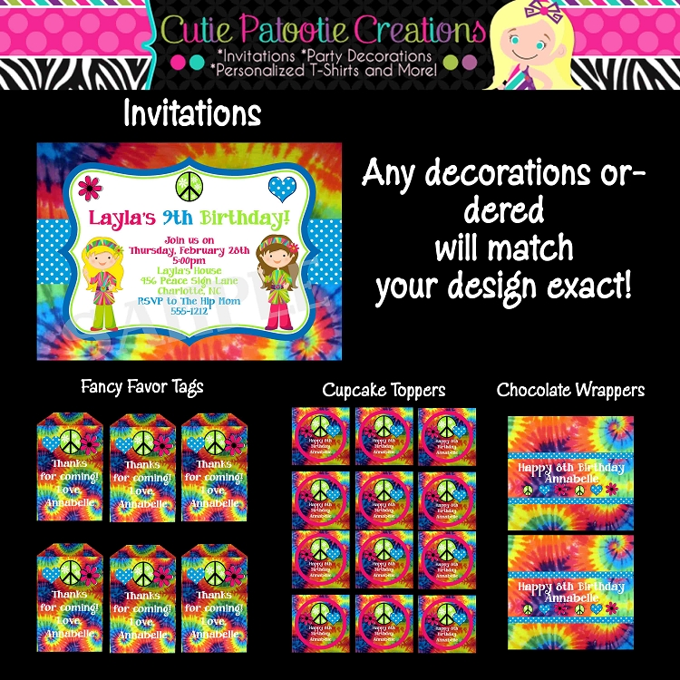 Tie Dye Hippie Chick Birthday Party Invitations - Printable or Printed