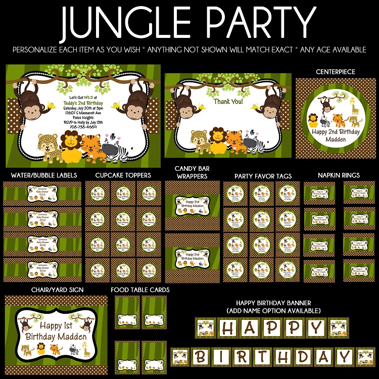 Jungle Safari Animals Birthday Party Invitations – Jungle Party Invitation
