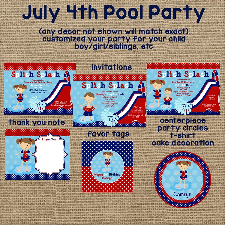 4th of july pool party invitations twins siblings joint birthday