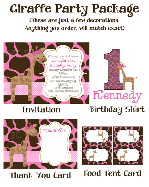 Giraffe Birthday Party Invitations Pink and Brown – Giraffe Party Invitations