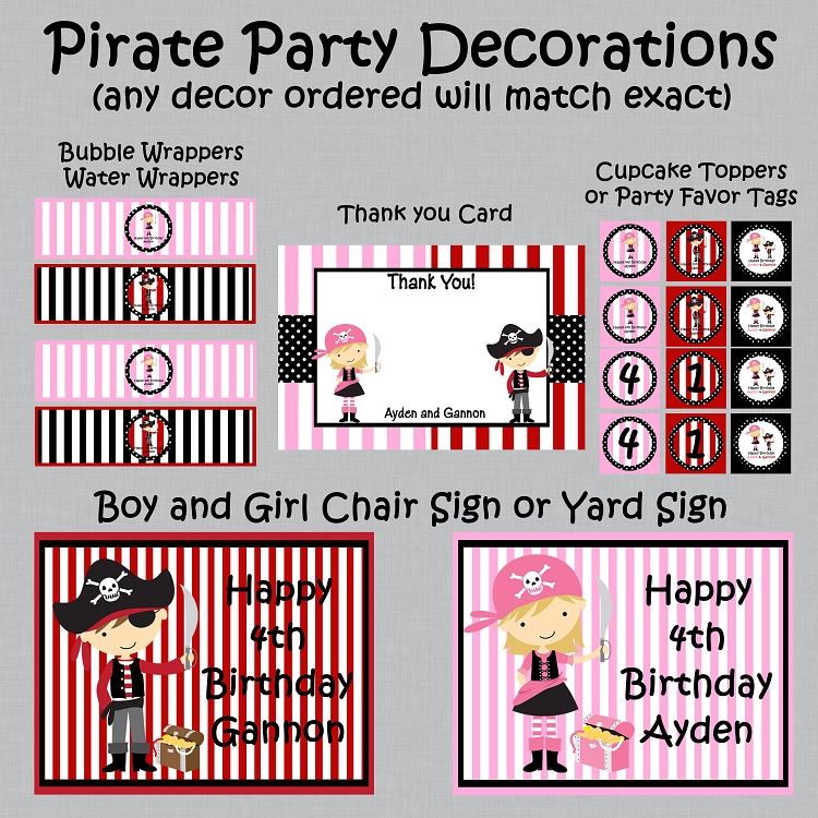 Pirate Birthday Invitation for Boy and Girl Twins or Siblings