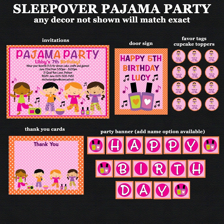 Pajama Party Birthday Invitations, Sleepover Slumber Party ...