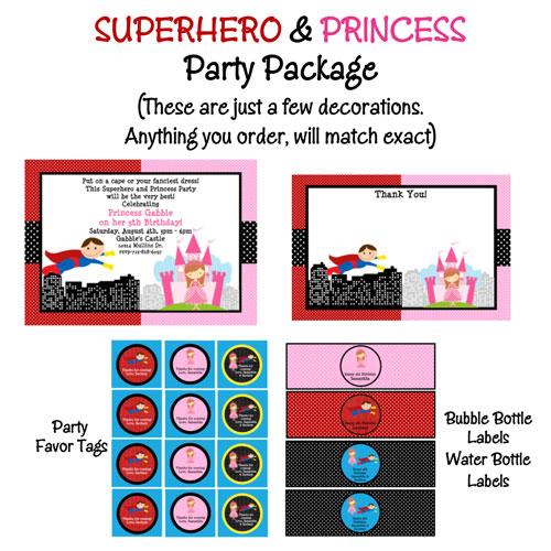 Order Party Invitations | Princess And Superhero Birthday Party Invitations Printable Or