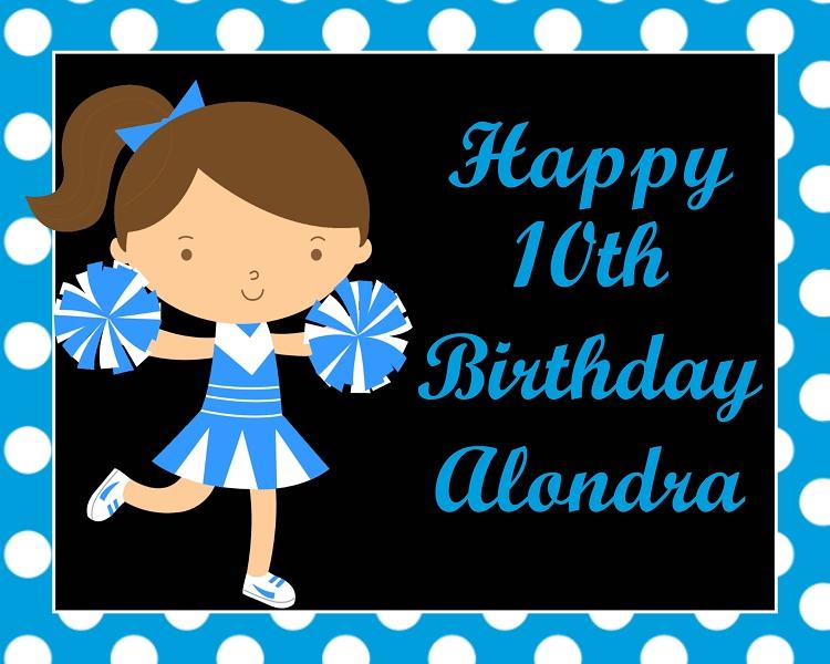 Cheerleader Birthday Party Invitations Turquoise Blue – Cheerleading Birthday Party Invitations