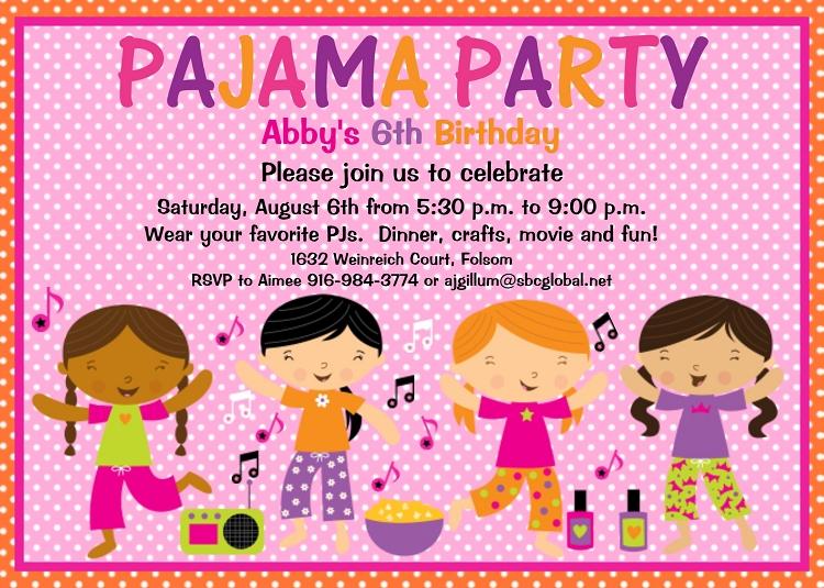 Pajama party birthday invitations sleepover slumber party pajama party birthday invitations sleepover slumber party printable or printed filmwisefo