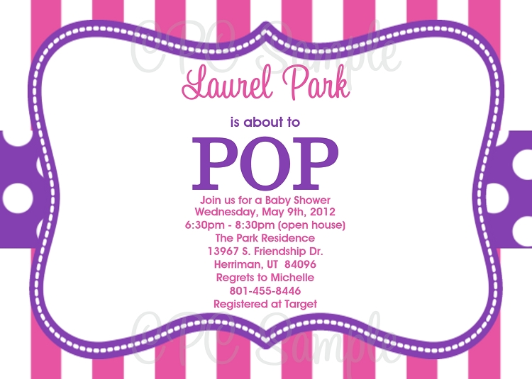 Pink purple pop baby shower invitations shes ready to pop baby shower invitation filmwisefo