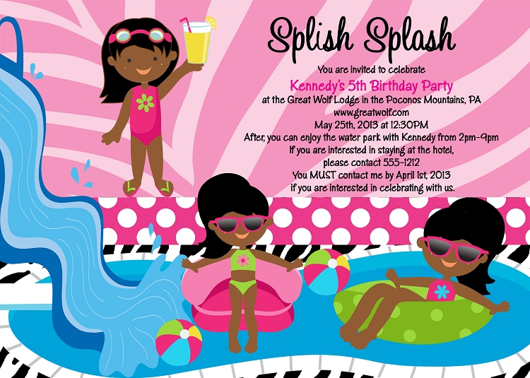 african american pool party invitations printable or printed